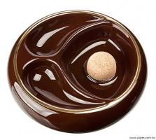 棕色陶瓷雙斗座煙灰皿